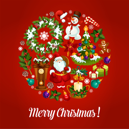 pine wreath: Christmas card with circle symbol of Santa Claus with gift, xmas tree, holly berry, snowman, candy cane, pine wreath, bauble ball, snowflake, bell, gingerbread man, candle, poinsettia flower, clock