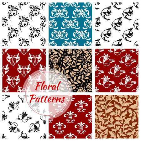 graphic backgrounds: Floral seamless patterns set of flowery decoration backgrounds. Ornate flourish decor tiles with graphic flower ornament. Damask motif, arabesque luxury tracery Illustration