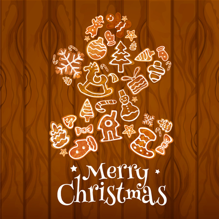 Christmas gingerbread man on wooden plank background with gift box, snowman, xmas tree, sock, bauble, snowflake, candy cane, star, mitten and bow ginger cookie. Xmas and New year design