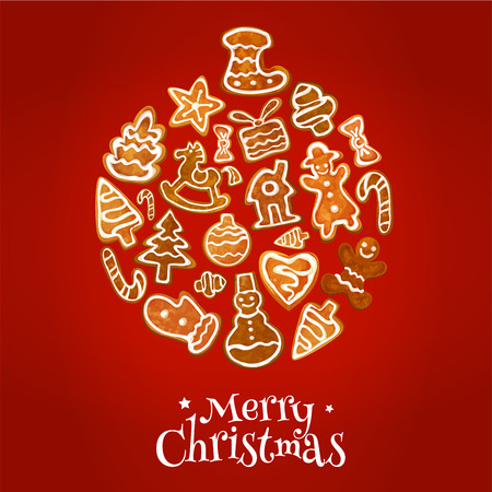 cake with icing: Christmas ball symbol made up of gingerbread man, house, bauble, gift box, snowman, xmas tree, stocking sock, candy cane, star, bow and rocking horse. Xmas and New Year holidays poster design Illustration
