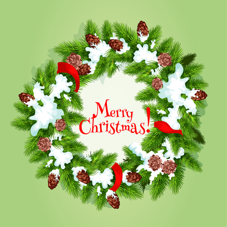 snow cone: Christmas tree wreath greeting card. Green branches of pine and fir tree, arranged into round frame, adorned by red ribbon, cone and snow with text Merry Christmas in the center. Xmas poster design