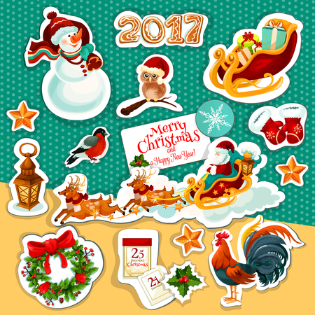 pine wreath: Christmas and New Year holiday sticker set with Santa Claus in sleigh with deer, gift, holly and pine wreath, snowman, star, snowflake, gingerbread, santas glove, owl, calendar, rooster, bullfinch
