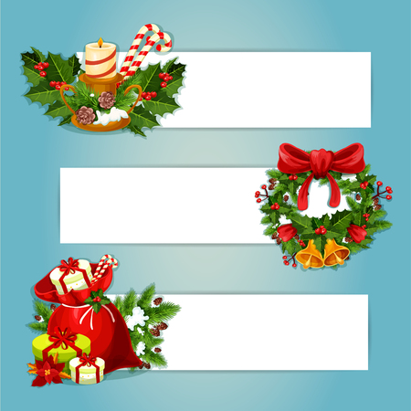 candle holder: Christmas banner with copy space and holly berry composition. Gift bag with present box, pine and ilex wreath with bell and bow, candle holder with fir and candy cane, poinsettia flower and cone