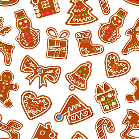 sugar cookie: Christmas traditional cookie seamless pattern of gingerbread with sugar icing ornament. Xmas background with gingerbread Christmas tree, gift box, snowman, candy, bell, sock, hat, man, house and heart Illustration