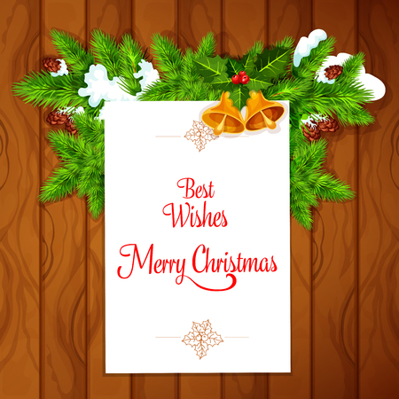 snow cone: Christmas greeting card on wooden background, topped with holly berry and pine tree branches with bell and cone, covered with snow. Winter holidays and xmas poster design