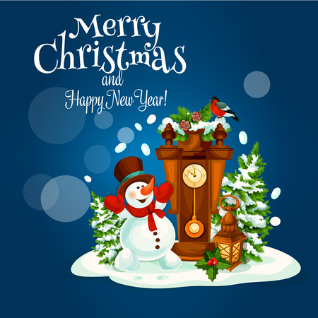 Winter holidays poster of snowman with snowy pine tree, candle lantern, holly berry and clock with bullfinch. Christmas and New Year greeting card design