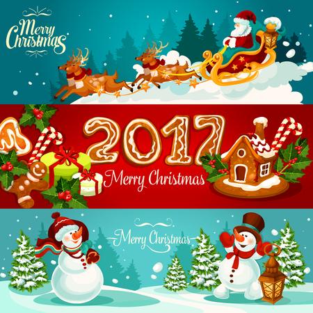 galleta de jengibre: banner de vacaciones de Navidad conjunto con caja de regalo y la casa de jengibre con baya de acebo y bastón de caramelo, de Santa Claus en trineo con ciervos, el hombre de jengibre de la galleta y el número 2017, el muñeco de nieve con bolsa de regalo y linterna