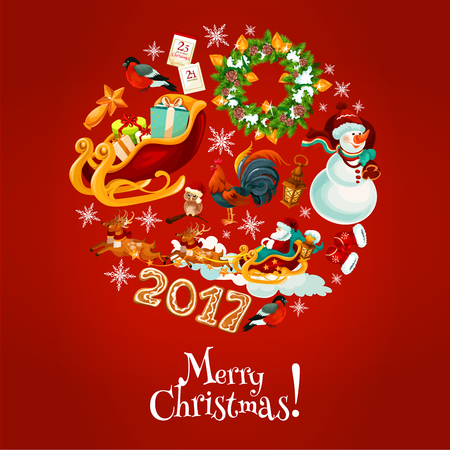 xmas star: Merry Christmas round poster with Santa Claus and gift box, xmas pine wreath with bauble, snowman, gingerbread, snowflake, star, owl in hat, santas glove, calendar, sleigh with deer, rooster, lantern Illustration