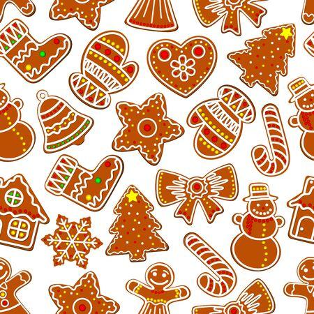 galleta de jengibre: Navidad sin fisuras patrón festivo de jengibre galleta del hombre de pan de jengibre, la casa y el árbol de Navidad, bastón de caramelo, muñeco de nieve y la campana, estrella, copo de nieve y arco, calcetín, guante y el corazón. Diseño del invierno Fondo de vacaciones Vectores