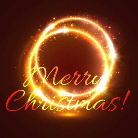 xmas star: Glowing round frame with shining swirl of golden light Christmas festive greeting card. Shining Xmas star and glittering spark double ring for winter holidays theme design Illustration