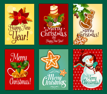xmas star: Christmas snowman with gift bag, holly berry with bell, pine tree with candle, gingerbread cookie star, snowman and snowflake, red flower of poinsettia greeting card set. Xmas, New Year themes design Illustration