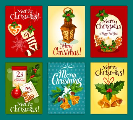 ilex: Merry Christmas card or poster set. Holly berry and pine branch with bell, candle and lantern, xmas stocking sock with ribbon and gingerbread, snowflake, bauble and calendar for winter holidays design Illustration