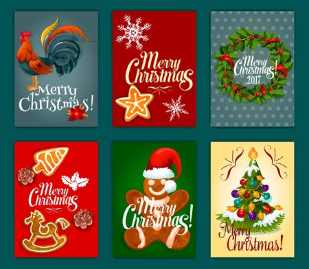 xmas star: Christmas Day festive poster and card set with xmas tree decorated with bauble, holly berry wreath with ribbon, snowflake, gingerbread man in santas hat, ginger cookie star, rooster symbol
