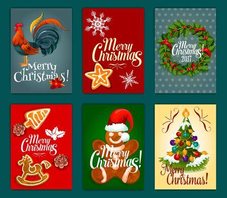 galleta de jengibre: El día de Navidad del cartel festivo y tarjeta de conjunto con el árbol de Navidad decorado con la chuchería, corona de acebo de bayas con la cinta, copo de nieve, hombre de pan de jengibre en el sombrero de santas, estrella de jengibre galleta, símbolo del gallo Vectores