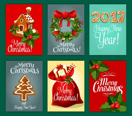 pine wreath: Santas gift bag with present box and candy, holly berry and pine wreath with red bow, gingerbread house, ginger cookie xmas tree and number of 2017 year festive poster set. Xmas, New Year theme design Illustration