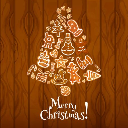 xmas star: Christmas bell composed of gingerbread on wooden background. Ginger cookie xmas tree, gift box, gingerbread man and house, sock, star, bauble, snowman, candy cane, heart, glove for Xmas card design