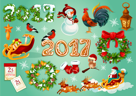 xmas star: Christmas and New Year poster with Santa and gift in sleigh with deer, holly and xmas tree wreath with bauble, snowman, star, snowy pine and gingerbread number 2017, rooster, calendar, owl, bullfinch Illustration