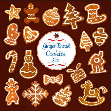 cake with icing: Christmas gingerbread cookie set. Sweet ginger biscuit xmas tree, candy cane, man, star, bauble ball, gift box, snowman, stocking sock, snowflake, house, glove, heart and rocking horse with icing Illustration
