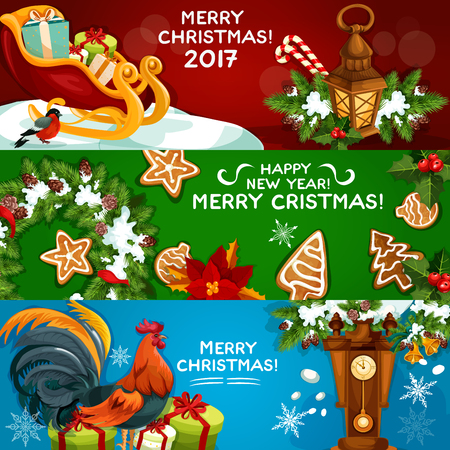 chinese holly: Festive Christmas and New Year banner set. Gift box, xmas tree wreath with holly berry, candy cane and bell, gingerbread cookie, lantern, rooster, poinsettia flower and clock. Winter holidays design