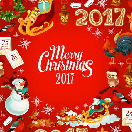 pine wreath: Christmas poster with sleigh of Santa with flying reindeer, snowman, gift, holly and pine wreath, snowflake, lantern, owl in red hat, gingerbread number 2017, chinese New Year rooster, calendar Illustration