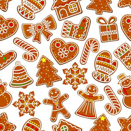 Ginger cookie Christmas festive dessert seamless pattern of gingerbread man, xmas tree, gift box, bell, snowflake, candy cane, star, house, sock, mitten, snowman with sugar glaze ornament