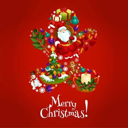 galleta de jengibre: hombre de pan de jengibre de navidad compuesto de Santa Claus, árbol de Navidad con la bola chuchería, regalo, regalos, baya del acebo, muñeco de nieve, campana, vela, galletas de jengibre, copo de nieve, flor de pascua. diseño de la tarjeta de felicitación de Navidad