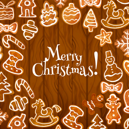 xmas star: Christmas cookie poster on wooden background. Gingerbread man and candy, star, xmas tree and gift box, snowflake, snowman and bauble, bow and stocking sock, house for xmas greeting card, winter holiday design