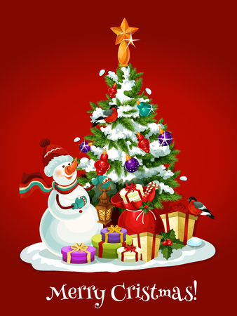 ball lights: Christmas snowman with gift and present box with red ribbon, holly berry and candy cane decor standing near snowy xmas tree, adorned by bauble ball, lights and golden star. Winter holidays card design Illustration