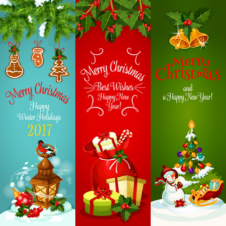 adorned: Xmas holiday banner set. Christmas tree with ball, gift bag with present and candy, snowman with santas sleigh and lantern with bullfinch, adorned by holly and pine branches with bell and gingerbread