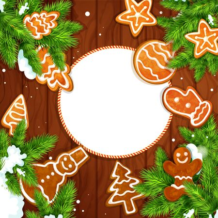xmas star: Christmas greeting card with gingerbread and pine branches on wooden background. Ginger cookie man, xmas tree, star, snowman, ball with snowy fir twig placed around badge with copy space