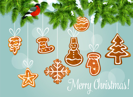 xmas star: Christmas tree with gingerbread greeting poster. Snowy pine branch with bullfinch and hanging ginger cookie snowflake, star, xmas tree, snowman, sock, bauble ball, glove. Xmas card design Illustration