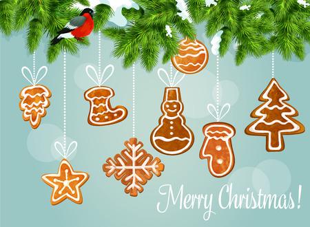 galleta de jengibre: Árbol de navidad con cartel de felicitación de pan de jengibre. rama de pino cubierto de nieve con camachuelo y colgando del copo de nieve de galletas de jengibre, estrella, árbol de navidad, muñeco de nieve, calcetín, chuchería bola, guante. diseño de la tarjeta de Navidad