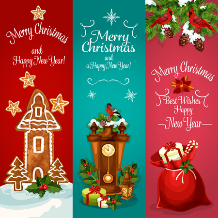 snow cardinal: New Year holidays banner. Christmas santas bag with gift, present box, candy and holly berry, gingerbread house with cookie xmas tree and star, clock, pine tree with snow, bullfinch and cardinal bird Illustration