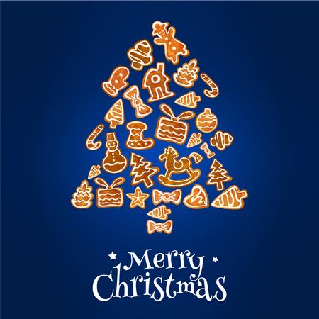 galleta de jengibre: tarjeta de felicitación del árbol de navidad del pan de jengibre. Tradicional de galletas de jengibre esmaltado en forma de bastón de caramelo, árbol de navidad, hombre, estrella, arco, calcetín, bola chuchería, casa, guante, corazón, caballo. Vacaciones de invierno el diseño