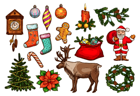 pine wreath: Christmas and New Year holiday symbol set. Sketched Santa, gift bag, xmas tree with lights, candy cane, pine wreath, candle, bauble ball, stocking sock, gingerbread man, clock, poinsettia and reindeer