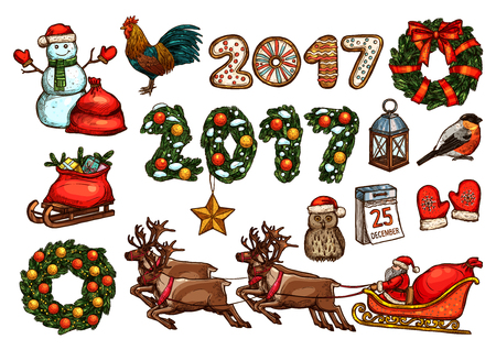 xmas star: Christmas and New Year sketch set of Santa with gift in reindeer sleigh, present box in red bag, snowman, xmas tree wreath and number 2017 with star, ball, bow, gingerbread, calendar, rooster, owl Illustration