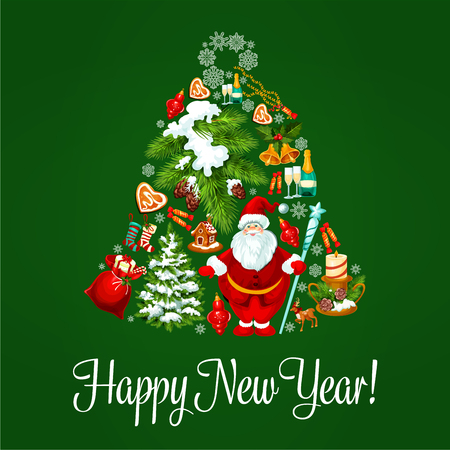 jingle bell: Happy New Year poster. Vector greeting card with jingle bell symbol of christmas tree balls, santa claus sack with gifts, sweets, ginger cookies, candles, biscuits, new year champagne, garlands, pine cones, snow Illustration