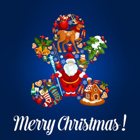 Vrolijk kerstfeest wenskaart. Vector poster met kerst peperkoek man symbool ontworpen voor traditionele nieuwe jaar santa claus, jingle bells, kerstboom ballen, rendieren, slee, geschenken zak, kaarsen, champagne, slingers, dennenappels Stock Illustratie