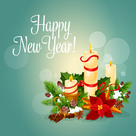 Happy New Year greeting card. Vector poster with christmas candles light, holly leaf and pine tree wreath, red ribbons covered with snow, poinsettia christmas star flower, snow cones, cinnamon sticks on snowy background