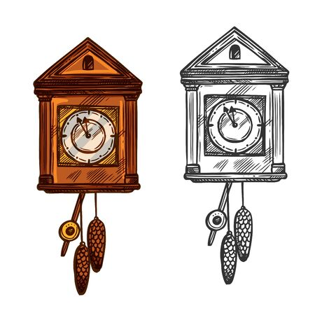New Year clock. Vector isolated sketch cuckoo wall clock with pendulum and fir cones cones. Arrows in minutes before midnight. Retro symbol for christmas, new year celebration