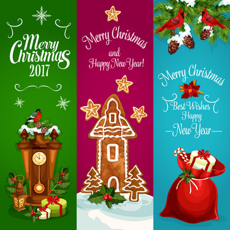 santa sack: Christmas banners set. New Year celebration greeting. Vector cuckoo wall clock, holly leaves with berries, bullfinch, christmas tree, gifts in santa sack, poinsettia star flower, gingerbread cookie, new year star, pine, fir cones, cardinal redbird