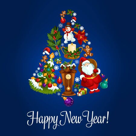 jingle bell: Happy New Year. Vector poster with christmas symbols of jingle bell, christmas balls, santa claus, new year gifts, sweets, wall clock, christmas tree with garland lights, gingerbread cookies, candles, biscuits, champagne bottle, snow on fir cones