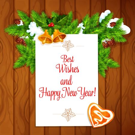 sow: New Year congratulation card. Vector poster with best wishes, holly leaves and berries, pine tree branches with sow, golden bells, gingerbread heart Christmas greeting on wooden background