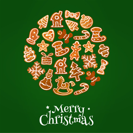 Merry Christmas poster with gingerbread cookies in shape of traditional new year symbols and christmas trees, gifts, stockings, mittens, snowman, stars, christmas balls, snowflakes Illustration