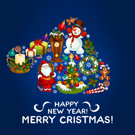 Happy New Year greeting card, poster. Vector Christmas symbol in shape of santa hat with snowman, decorated christmas tree, new year holly and pine tree wreath, gingerbread man, poinsettia star flower Illustration