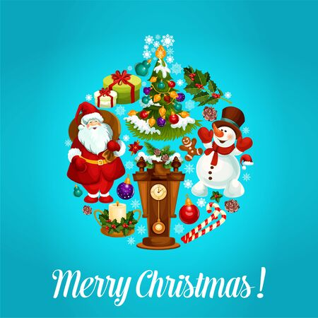 holiday gifts: Merry Christmas vector poster. Christmas holiday greeting card with santa, snowman, wooden clock with chimes, christmas tree, gifts, wreath of holly leaves and pine tree branches