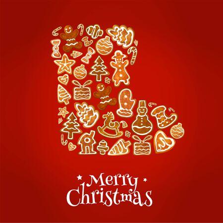 galletas: cartel de Feliz Navidad. símbolo de arranque de invierno de galletas de jengibre al horno en forma de árbol de Navidad, caja de regalo, almacenamiento, manoplas, corazón, muñeco de nieve, estrellas, bolas de navidad, copo de nieve, bastón de caramelo, árbol de navidad