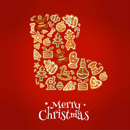 biscuits: Merry Christmas poster. Winter boot symbol of baked gingerbread cookies in shape of christmas tree, gift box, stocking, mittens, heart, snowman, stars, christmas ball, snowflake, candy stick, christmas tree