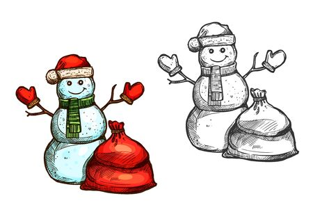 mitten: Snowman vector isolated sketch icon. Christmas snowman with Sant gift sack, knitted winter mittens, hat, scarf