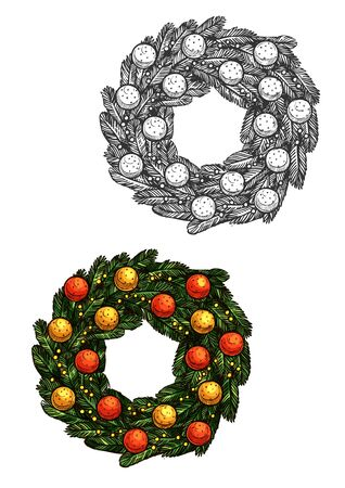 pine decoration: Christmas wreath vector sketch icon. Traditional new year wreath decoration of fir and pine tree branches, decorated with christmas balls